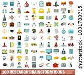 100 research brainstorm icons... | Shutterstock . vector #1031788915