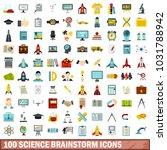 100 science brainstorm icons... | Shutterstock . vector #1031788942