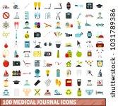 100 medical journal icons set... | Shutterstock . vector #1031789386