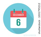 6 december calendar icon flat  | Shutterstock .eps vector #1031795212