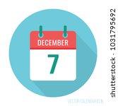 december 7 calendar icon flat | Shutterstock .eps vector #1031795692