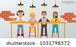 concept of coworking space ... | Shutterstock .eps vector #1031798572