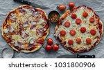 top view of tasty rustic...   Shutterstock . vector #1031800906