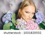 makeup model with hydrangea...   Shutterstock . vector #1031820532