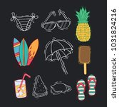colored doodle summer icons... | Shutterstock .eps vector #1031824216