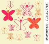 colored butterfly with ellipses ... | Shutterstock . vector #1031824786