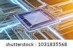 view of a cpu processor chip... | Shutterstock . vector #1031835568