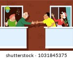 senior couple greeting new... | Shutterstock .eps vector #1031845375