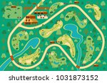 golf course map 9 holes.... | Shutterstock .eps vector #1031873152