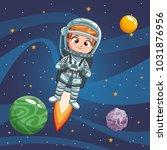 boy astronaut in the space | Shutterstock .eps vector #1031876956