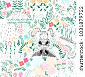 forest seamless pattern. vector ... | Shutterstock .eps vector #1031879722