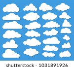 set of many white clouds with... | Shutterstock .eps vector #1031891926