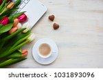 laptop tulips coffee heart... | Shutterstock . vector #1031893096