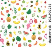 tropical fruits colorful vector ... | Shutterstock .eps vector #1031901256