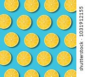 lemon slices pattern on vibrant ... | Shutterstock . vector #1031912155