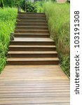wood stair way on green garden | Shutterstock . vector #103191308