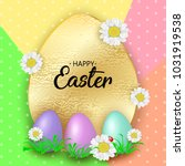 cute easter greeting card with... | Shutterstock .eps vector #1031919538
