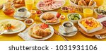 easter breakfast panorama... | Shutterstock . vector #1031931106