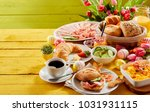 easter buffet breakfast or...   Shutterstock . vector #1031931115