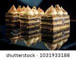 three chocolate opera cake...   Shutterstock . vector #1031933188