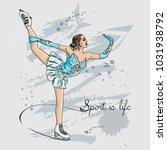 vector scetch figure skater... | Shutterstock .eps vector #1031938792