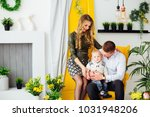happy family sitting on a... | Shutterstock . vector #1031948206