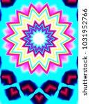psychedelic neon glitch mandala ... | Shutterstock . vector #1031952766
