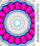 psychedelic neon glitch mandala ... | Shutterstock . vector #1031952772