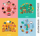 tourism 2x2 design concept with ... | Shutterstock . vector #1031954035