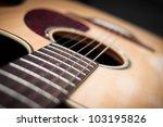 Close Up Guitar Body With Soun...