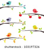 birds on different branches | Shutterstock .eps vector #103197326