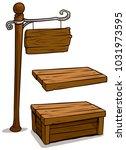 cartoon wooden brown board ... | Shutterstock .eps vector #1031973595