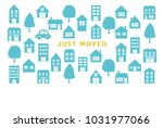 house moving greeting card.... | Shutterstock .eps vector #1031977066