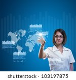 Brunette young woman in futuristic interface