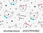 cats in love  vector seamless... | Shutterstock .eps vector #1031994382