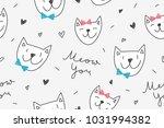cats in love  vector seamless... | Shutterstock .eps vector #1031994382