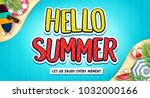 hello summer banner with... | Shutterstock .eps vector #1032000166