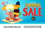 special offer summer sale... | Shutterstock .eps vector #1032003358