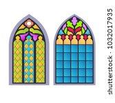 gothic windows. vintage frames. ... | Shutterstock .eps vector #1032017935