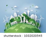 concept of eco with family... | Shutterstock .eps vector #1032020545
