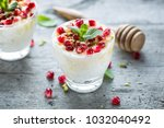 rice pudding with pomegranate... | Shutterstock . vector #1032040492
