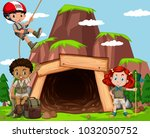 scene with kids climbing rock... | Shutterstock .eps vector #1032050752