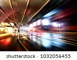 the fuzzy road of the city... | Shutterstock . vector #1032056455