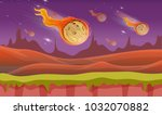 comets falling from the space... | Shutterstock .eps vector #1032070882