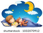 girl sleeping with teddybear at ... | Shutterstock .eps vector #1032070912