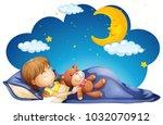 girl sleeping with teddybear at ...