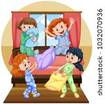 four girls playing pillow in... | Shutterstock .eps vector #1032070936