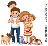 family with two boys and pets... | Shutterstock .eps vector #1032070942
