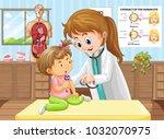 doctor doing health check for... | Shutterstock .eps vector #1032070975