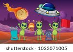 space theme with aliens and ufo ... | Shutterstock .eps vector #1032071005